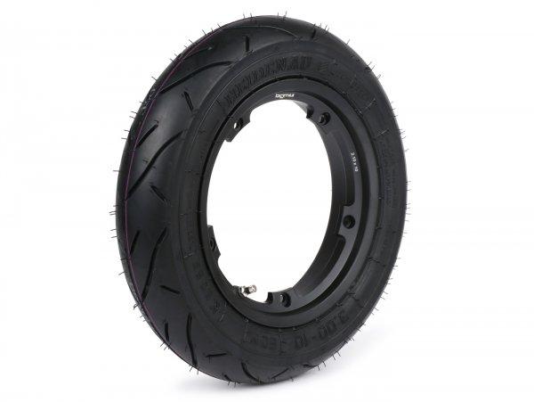 Wheel -HEIDENAU K80SR, tubeless, Vespa Smallframe V50, PV, ET3, PK- 3.00 - 10 inch TL 50M (reinforced) - wheel rim BGM PRO 2.10-10 Aluminium black