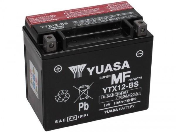 Batería -YUASA YTX12-BS- 12V, 10Ah - 152x88x131mm - ácido incl. (sin mantenimiento) Vespa LX, LXV, S 125/150cc, GTS, GTS Super, GTV,GT L 125-300cc