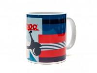 Tasse - Kaffeebecher -FORME- Vespa, Servizio - blau/rot mit Schriftzug