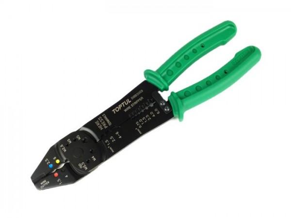 Pince à sertir universelle -TOPTUL- à la fois pince à dénuder (-6,0mm²), coupe-câble et coupe-boulon (-M5)