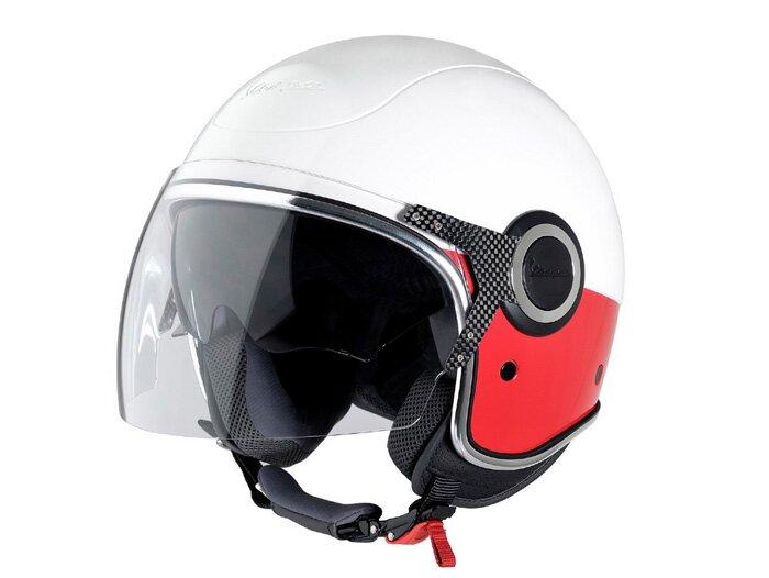 helm vespa vj jethelm weiss rot helme helme bekleidung scooter center. Black Bedroom Furniture Sets. Home Design Ideas