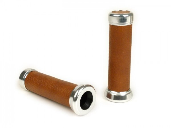 Pair of grips -Vespa- Ø=22mm - brown leather/chrome caps - fits Vespa PK XL2/Cosa
