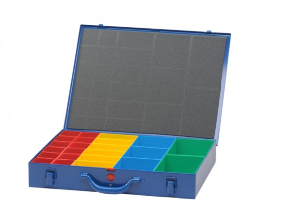 Sortierkasten -HÜNERSDORFF, Metall (330x440x66mm)- 23 Fächer, blau, pulverbeschichtetem Stahlblech