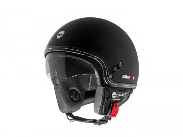 Helm -HELMO MILANO- Demi Jet, Puro Stile, rubber black - XS (53-54cm)