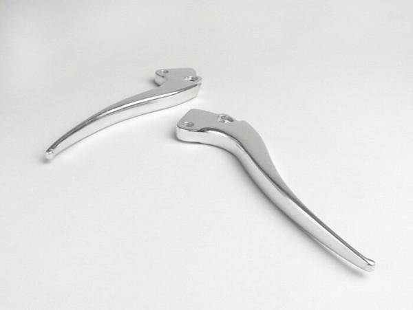 Bremshebel + Kupplungshebel (Set) -OEM QUALITÄT, spitz- Vespa VB, VS2T bis VS5T, GS2 bis GS3 - Aluminium