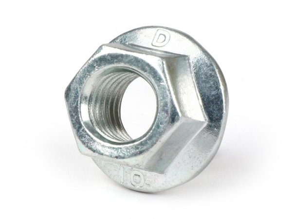 Self-locking nut with flange -similar to DIN 6923- M12 x 1.50 - used as clutch nut for clutch Vespa Cosa2, BGM PRO Superstrong Largeframe