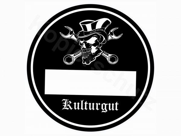 "Aufkleber -Ø 80mm- ""Kulturgut"""
