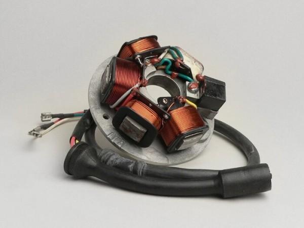 Zündung -PIAGGIO Grundplatte- Vespa PK XL - 5-Spulen, 8-Kabel (Rundstecker mit 5-Pin) - für Fahrzeuge mit Batterie