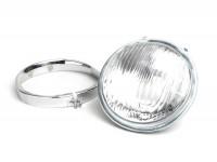 Scheinwerfer -VESPA Ø=115/120mm (Glas/außen)- Vespa SS50 (V5SS1T), 50SR (V5SS2T), SS90 (V9SS1T), 90 Racer (V9SS2T), PV125 (VMA1T, VMA2T), ET3 VMB1T), Super (VNC1T/VBC1T) - Glas, inkl. Zierring