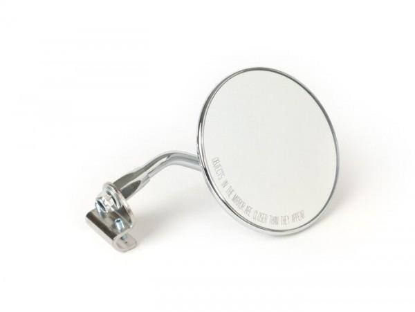 Mirror -FAR legshield clip on- Vespa universal - round Ø=105mm - E2 (E-mark) - chrome