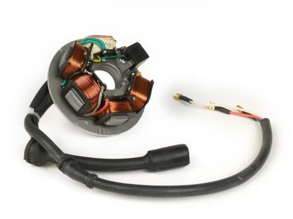 Zündung -Vespa Grundplatte- Vespa PK XL - 5-Spulen, 8-Kabel (Rundstecker mit 5-Pin) - für Fahrzeuge mit Batterie
