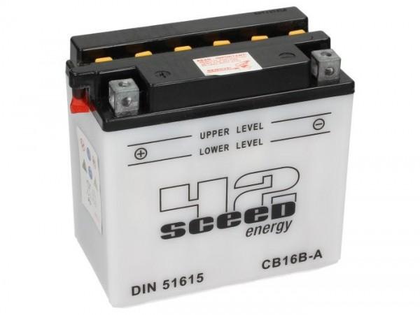 Batterie -Standard SCEED 42 Energy- CB16B-A (CB16B-A1) - 12V, 16Ah - 162x92x162mm (inkl. Säurepack)