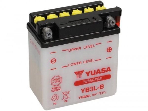 Batterie -Standard YUASA YB3L-B- 12V, 3Ah - 99x56x110mm (ohne Säure)