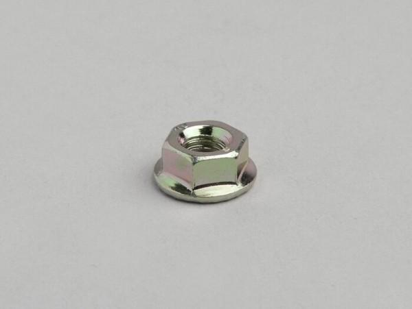 Tuerca con brida (collar grafilado) -DIN 6923- M6x1.0 (para culata Piaggio 50cc (de 2 tiempos), Minarelli 50cc (cilindro vertical), Morini 50cc (tipo AH))