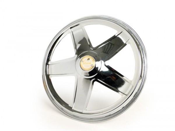 "Wheel disc -PIAGGIO, Ferrarina, 50s, 5 spoke, with vespa emblem- for 10"" open rim type - Vespa V50, V90, PV125, ET3, PK, GT, GTR, TS, GL, GS VS5T, Sprint, T4, Rally, PX, T5 125ccm - chrome"