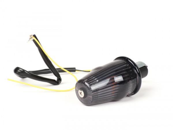 Blinker -MOTO NOSTRA Lenkerblinker LED (E-Prüfzeichen), 12 Volt- Vespa V50, 50SS, 50SR, 50 Sprinter, 90SS, 90 Racer, PV125, ET3, Sprint150, Rally180/200 - schwarz