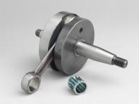 Albero motore -MAZZUCCHELLI RACING (per immissione lamellare) volano tondo, corsa 51mm, biella 97mm- conversione Vespa PK50 XL/XL2 a 125cc (cono Ø=20mm)