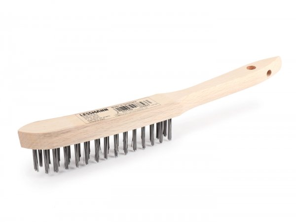 Drahtbürste -LESSMANN- Stahldraht glatt,  Ø=0.35mm, 3 Reihen x 140mm