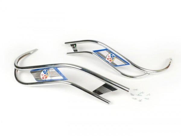 Bordón doble escudo -AMS CUPPINI- Vespa V50, PV125, ET3 - azul