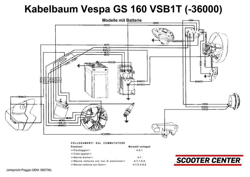 Wiring loom -VESPA- Vespa GS160 (until No. 36000) - models with ...