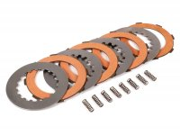 Clutch friction plate set incl. steel plates incl. 8 springs -FERODO 'Race High Performance' Vespa Cosa2- suitable for standard clutch basket of Vespa Cosa2/FL (1992-), PX (1995-), Superstrong, Scooter & Service, MMW, Ultrastrong - 4 plates