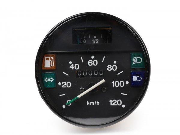 Tacho -PREMIUM- Vespa Ø=105mm - PX Lusso, T5 Classic, My, 2001, 2011 - 120km/h - schwarz - auch passend für Vespa PK50/80 S Lusso, PK XL, PK125 ETS