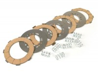 Clutch friction plate set -MALOSSI MHR Vespa type 7 springs (Rally200, PX200, T5 125cc)- 4 friction plates (incl. springs and steel plates)