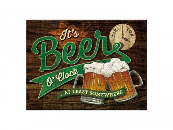 """Magnet -Nostalgic Art- """"Beer O'Clock Glasses"""" - 6x8cm"""