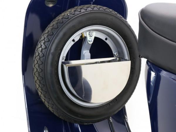 Caja herramientas para rueda de recambio suelo central -SPAQ Sparewheelbox- Vespa Smallframe, Largeframe 10 pulgadas - acero inoxidable