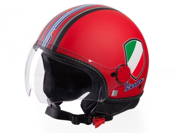 Helmet -VESPA  open face helmet V-Stripes- red black (Casco Red)-  XL (61-62 cm)
