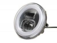 Scheinwerfer -MOTO NOSTRA- LED HighPower - Ø=120mm - 12V DC - mit E9-Kennzeichnung - zur Umrüstung von z.B. Lambretta LI/TV (Serie 1-3), Jet, Vespa SS50, SS90, PV125, ET3, Super, VNB, VBA, VBB, GS150 / GS3, GS160 / GS4 (VSB1T), VGLA, VGLB
