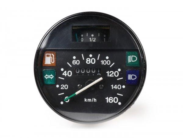 Tacho -PREMIUM- Vespa Ø=105mm - PX Lusso, T5 Classic, My, 2001, 2011 - 160km/h - schwarz - auch passend für Vespa PK50/80 S Lusso, PK XL, PK125 ETS