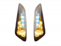 Pair of indicators -POWER 1 LED daytime running light (E-mark)- Vespa Primavera, Sprint - smoked / black tinted - front - smooth lens