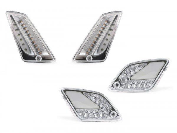 Blinker-Set vorne+hinten -MOTO NOSTRA (bis Bj.2014) dynamisches LED Lauflicht, Tagfahrlicht vorne + Positionslicht hinten (E-Prüfzeichen)- Vespa GT, GTL, GTV, GTS 125-300 - weiss