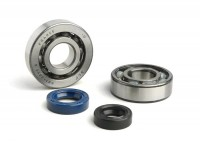 Bearing and oil seal set for crankshaft -BGM ORIGINAL- Peugeot 50cc (vertical cylinder - electrical oil pump) - SPEEDFIGHT2 AC and LC 50 (2004-), XFIGHT50 (2004-)
