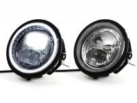 """Scheinwerfer inkl. Umrüstrahmen und Scheinwerferhalterung -MOTO NOSTRA- LED HighPower - Ø=143mm (5 3/4"""") - 12V DC - mit E9-Kennzeichnung - zur Umrüstung von Vespa PX"""