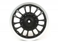 Cerchio ruota posteriore -PIAGGIO 3.00-12 pollici, Ø tamburo freno = 140mm - 14 razze- Vespa Sprint 50 (ZAPC53101), Sprint 125, Sprint 150 - nero opaco/bordo argento