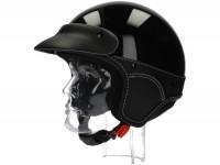 Helm -NEW MAX, Elegance Jethelm- schwarz glänzend -