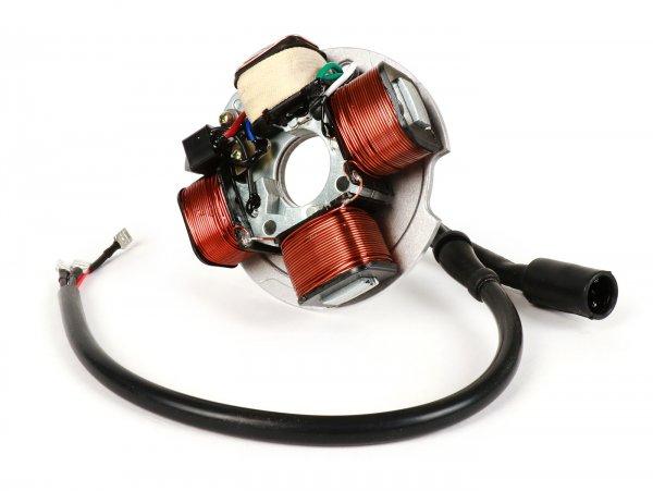 Encendido -CIF soporte bobinas completo 6V, 4 bobinas, conector de 3 pines- Vespa PK50 N (I) 1989-1990 (V5X5T), PK50 XL (I) 1985-1989 (V5X3T), PK50 XL Rush (I) 1988-1989 (V5X4T)