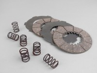 Clutch friction plate set -SURFLEX- Vespa Wideframe V98, V1T, V15T, V30T, V33T (incl. springs and steel plates)