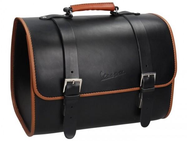 Leather top bag -PIAGGIO- black - Vespa Primavera 50 (ZAPC53100, ZAPC53200), Vespa Primavera 125 (ZAPM81100), Vespa Primavera 150 (ZAPM81200), Vespa Sprint 50 (ZAPC53101, ZAPC53201), Vespa Sprint 125 (RP8M82111, ZAPM81300, ZAPM81301)