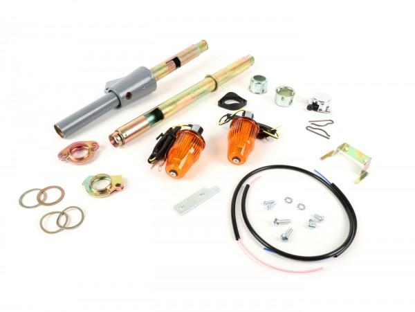 Blinker Nachrüst-Set für Lenkerendenblinker (Schaltrohr/Gasrohr-Set inkl. Lenkerblinker und Innenrohre) -MOTO NOSTRA, LED , mit E-Kennzeichnung, 12 Volt- Vespa Rally, Sprint, TS, GT, GTR, GL150, SS180, PV125, ET3 - Ø=24mm - Orange