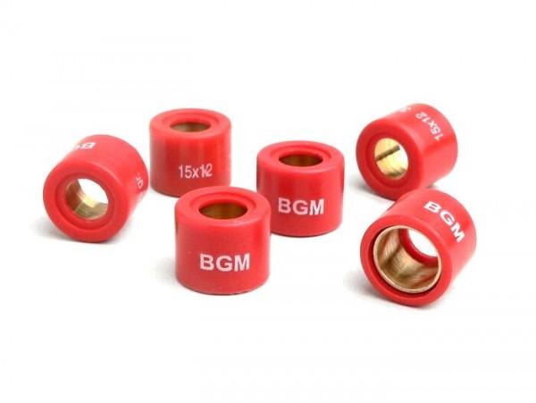 Rollers -bgm Original 15x12mm- 6.50g - Aprilia Amico 50, Rally, SR50 WWW - Benelli 491 GT - Malaguti F10, F12, F15, Yesterday - MBK Booster, Mach G, Ovetto, Stunt - Yamaha BW'S, Jog, Neo's, Slider, Why, Zuma