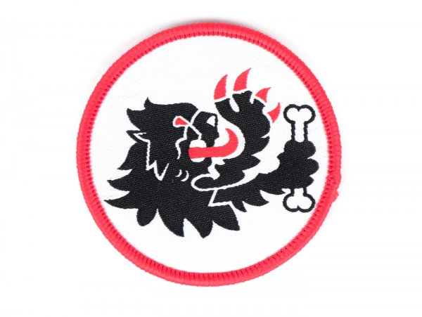 Patch -MALOSSI- Lion's head Ø 6 cm with embroidered seam