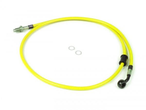 Bremsleitung vorne zur original Bremszange -SPIEGLER Leitung: Edelstahl (gelb), Fitting: Aluminium (schwarz)- Vespa (mit ABS) GTS 125i.e. Super ABS (ZAPM45300, ZAPM45301), Vespa GTS 300 ABS (ZAPM45200, ZAPM45202), Vespa GTS 300i.e. Super