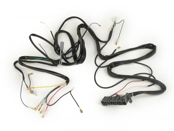 Mazo de cables -GRABOR- Vespa PX Iris (modelos italianos), con intermitentes, sin rectificador claxón, sin batería, claxón CA, soporte bobinas completo de encendido con 5 cables