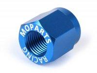 Rear wheel axle nut -MOPARTS RACING, SW = 19mm- Piaggio Ciao, Bravo, Boxer, Citta, EC1, CBA, Grillo - aluminum - blue anodized