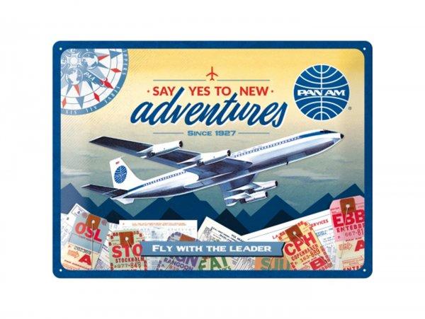 """Reklameschild -Nostalgic Art- """"Pan Am - New Adventures"""", 30x40cm"""