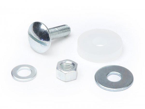 Juego de tornillos del guardabarros -CIF 5 piezas- Vespa Smallframe V50, 50N, PV, ET3 - se utiliza para fijar el guardabarros al lateral de la pipa de dirección