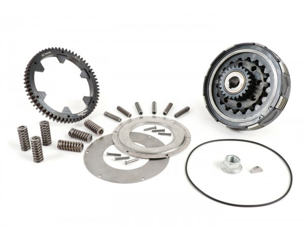 Clutch incl. primary drive set -BGM Pro Superstrong 2.0 CR80 Ultralube, type Cosa2/FL - primary gear BGM Pro 63 tooth (straight) - Vespa PX80, PX125, PX150, PX200, Cosa, T5, Sprint150 Veloce, Rally, GTR, TS125, Super150 (VBC) - 24/63 tooth (2.62)